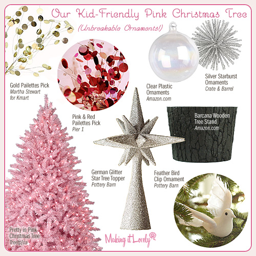 Kid-Friendly Pink Christmas Tree