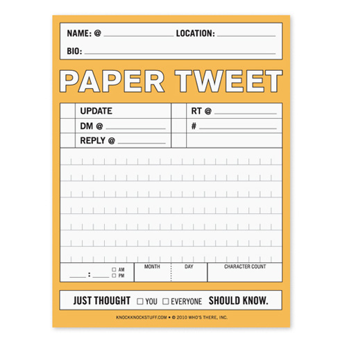 Paper Tweet Nifty Note