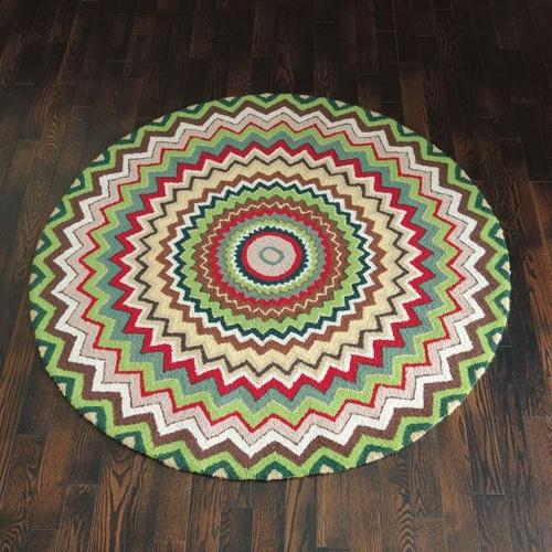 Zigzag Hooked Wool Rug