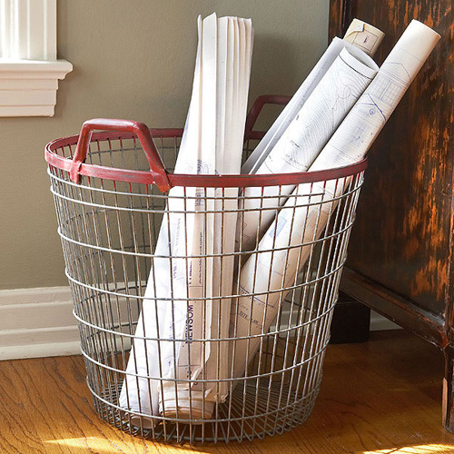 Red Rim Metal Wire Basket