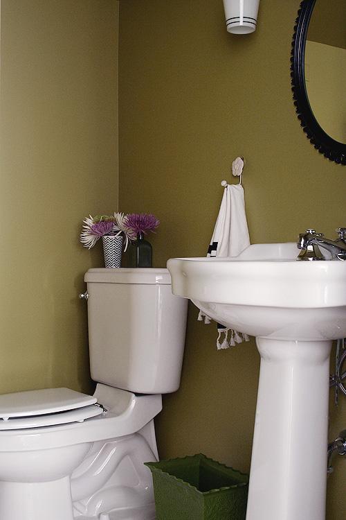 The basement half bathroom making it lovely for Olive green bathroom ideas