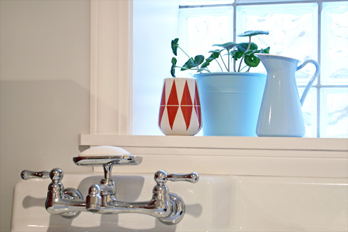 A plant sits in the window above the utility sink.