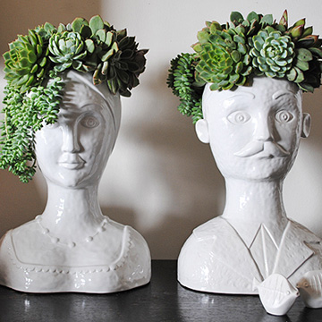 Male and Female Bust Vases