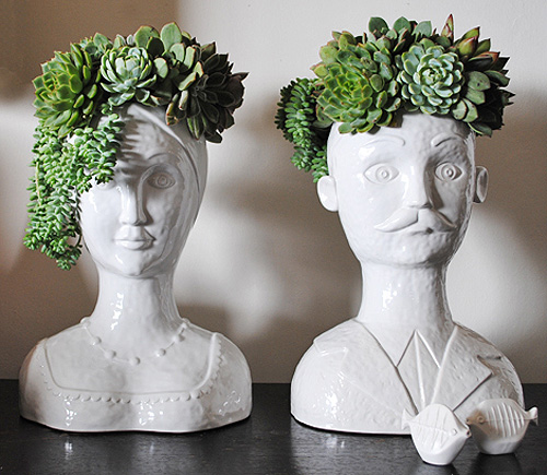 Pot Head Planters: Male And Female Bust Vases