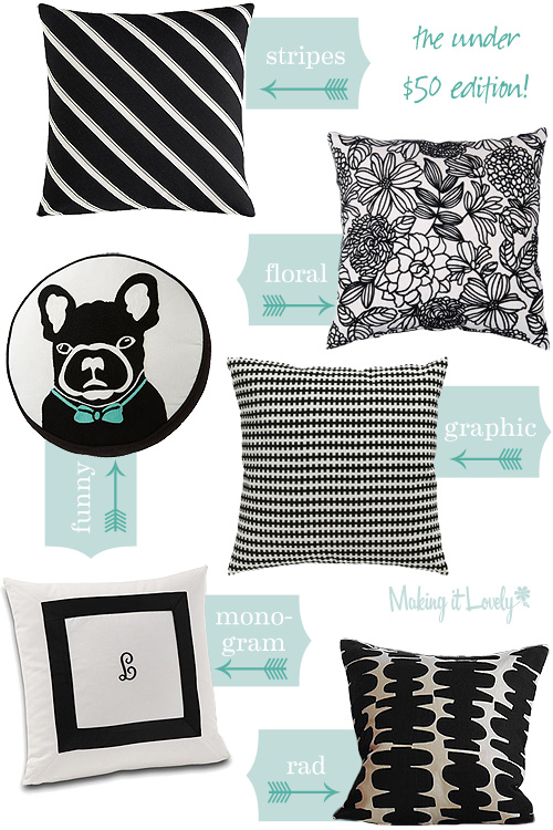 Black and White Patterned Pillows Under $50