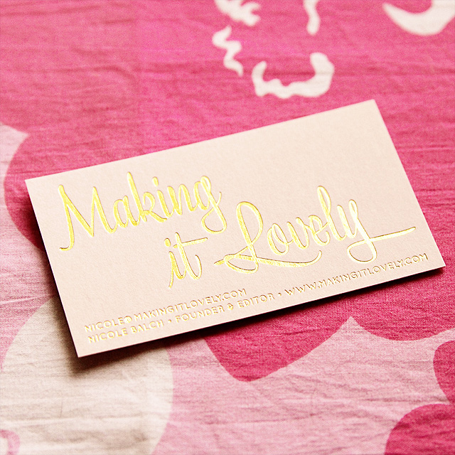 Pink and Gold Business Cards – Making it Lovely