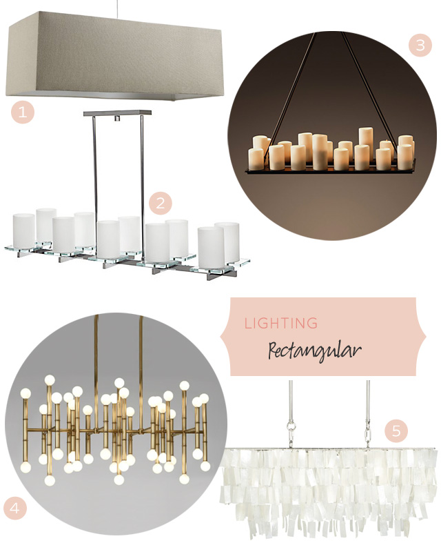 Dining Lights Above Dining Table: Rectangular Lighting Fixtures