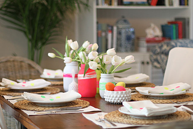 An Easter Table With a Neon Twist