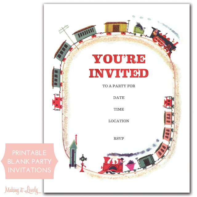 train party invitations (free printable) – making it lovely, Party invitations