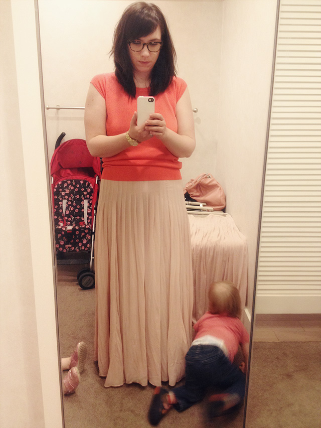 Trying on a PInk Ballet Maxi Skirt