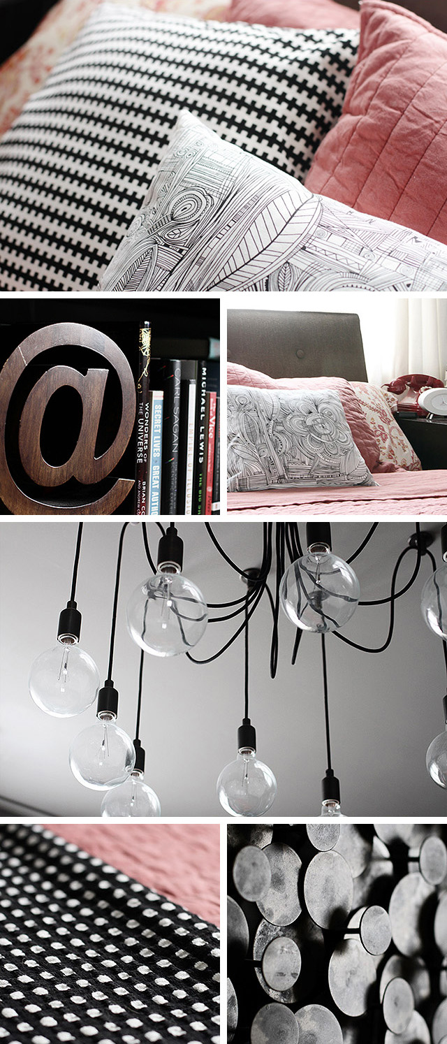 Coral and Gray Bedroom with Black and White Details, Making it Lovely