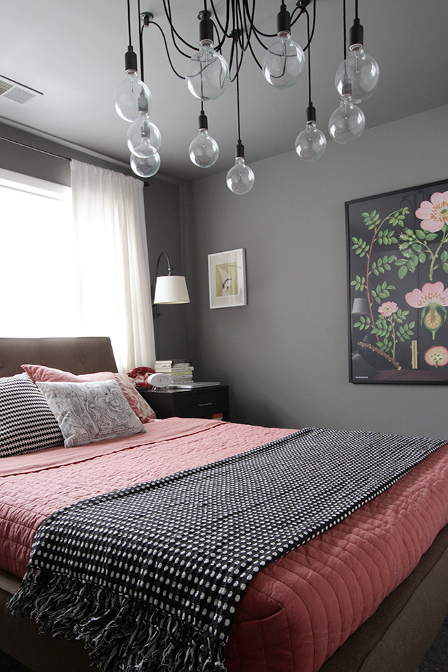 Botanical Print in a Coral and Gray Bedroom with Black and White, Making it Lovely