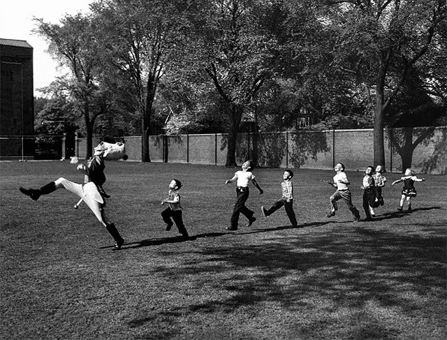 Uniformed Drum Major For University of Michigan Marching Band Practicing His High Kicking Prance - Alfred Eisenstaedt