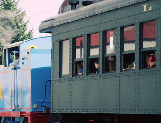 Full-Sized Thomas the Tank Engine, Pulling Passenger Cars