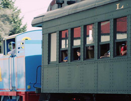 Full-Sized Thomas the Tank Engine, Pulling Passenger Cars