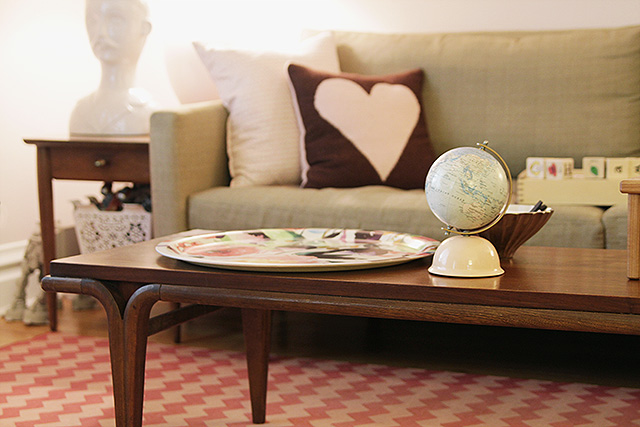 Vintage Wooden Coffee Table in Making it Lovely's Living Room