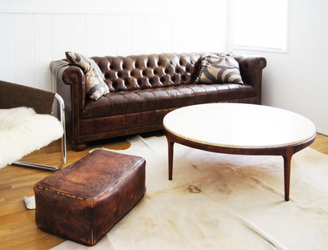 Vintage Wood and Travertine Coffee Table
