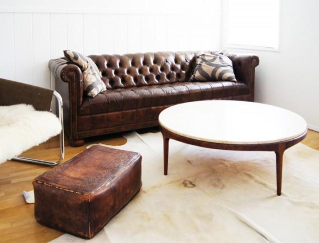 Vintage Wood and Travertine Coffee Table