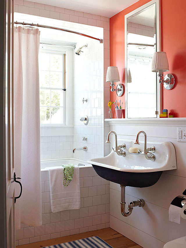 Black and White Bathroom, Plus Orange