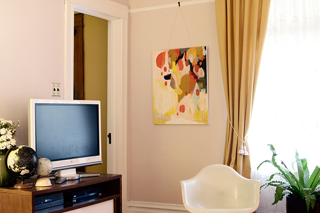 Emily Rickard Painting in Making it Lovely's Living Room