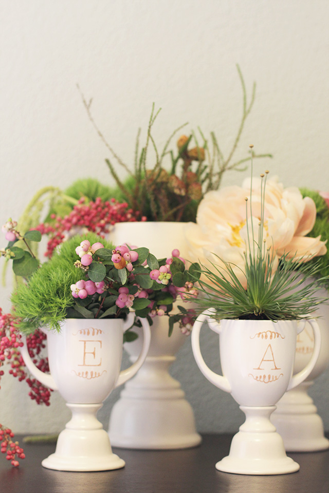 DIY Monogrammed Trophies Filled with Flowers