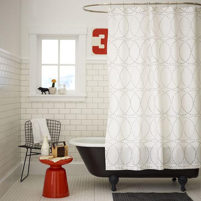 Black Bathtub, White Subway Tiles