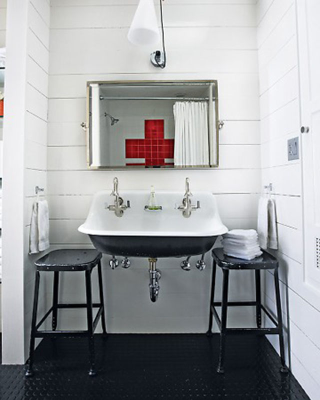 Black and White Bathrom with Red Cross