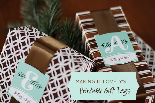 Free Printable Christmas Monogram Gift Tags from Making it Lovely