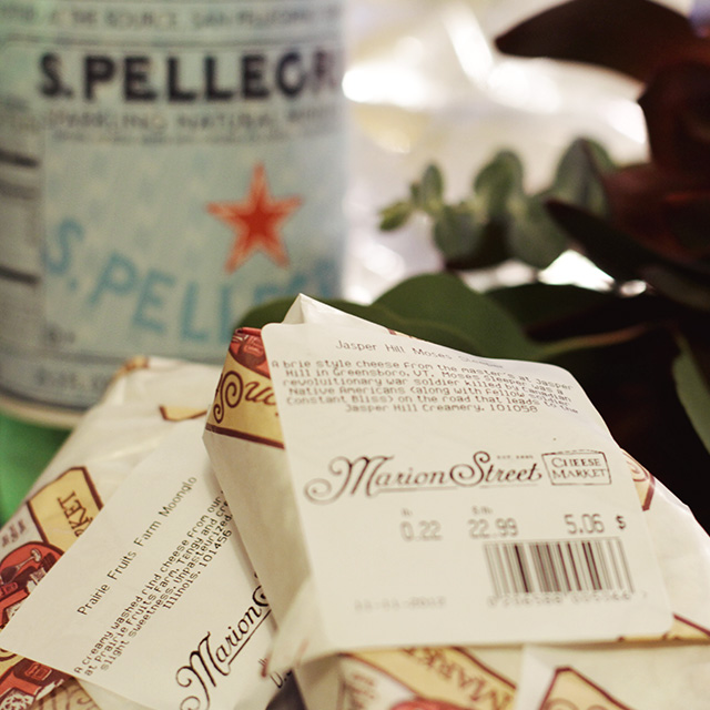 San Pellegrino, Flowers, and Cheese from the Marion Street Cheese Market