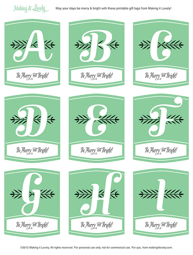 Free Printable Monogram Christmas Gift Tags