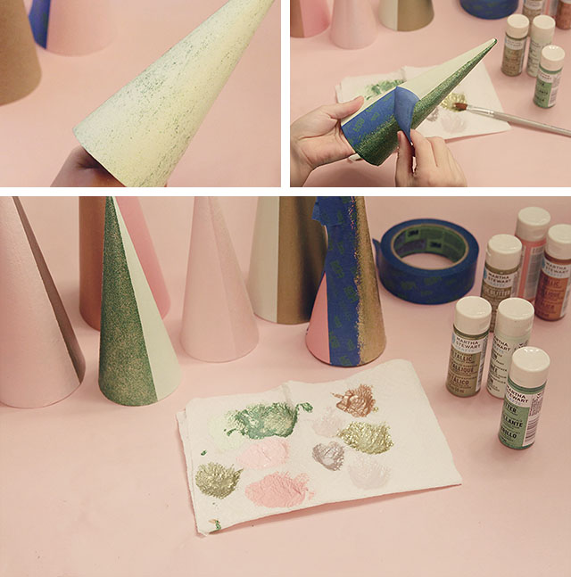 DIY Colorblock Christmas Trees - Adding Glitter