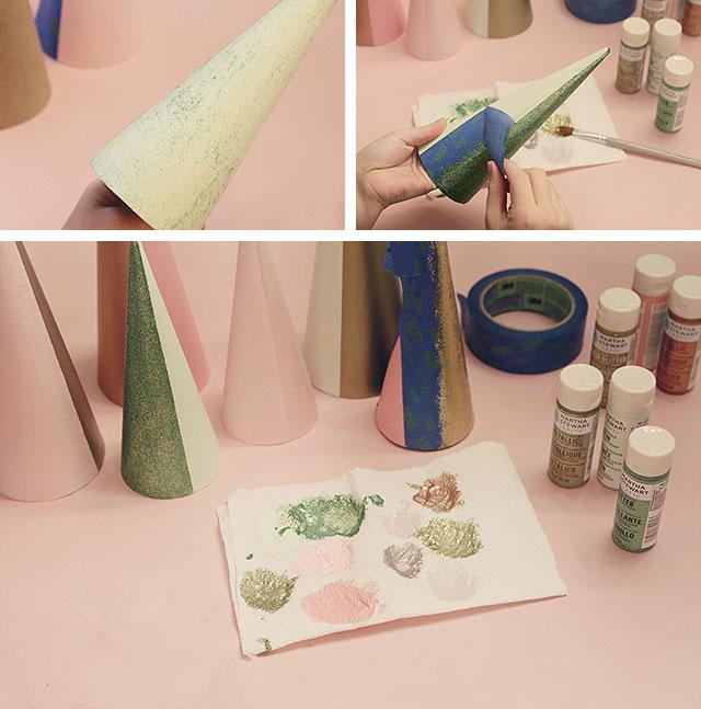 DIY Colorblock Christmas Trees - Adding Glitter