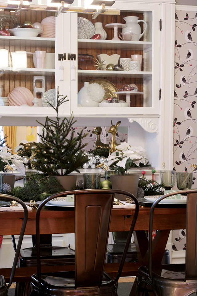 Dining Room with the Table Set for Christmas