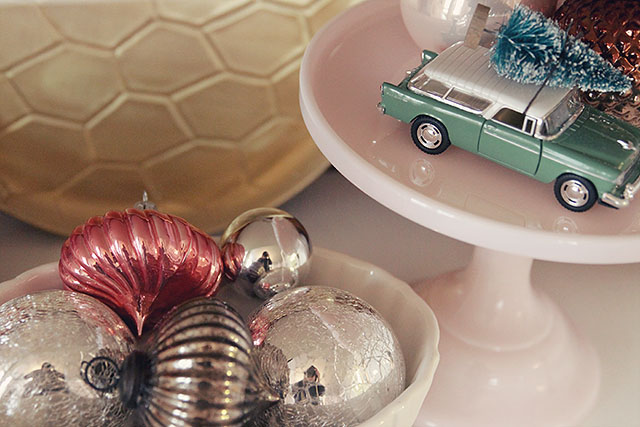Christmas Ornaments, Christmas Tree on a Toy Car