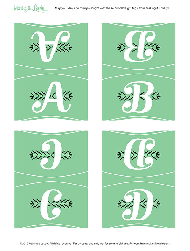 Free Printable Monogram Place Cards