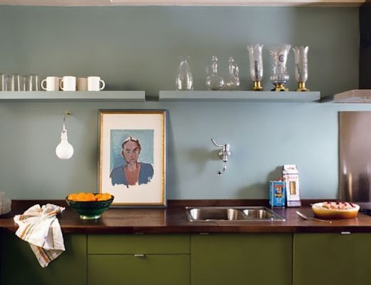 Sky Blue and Olive Green Kitchen