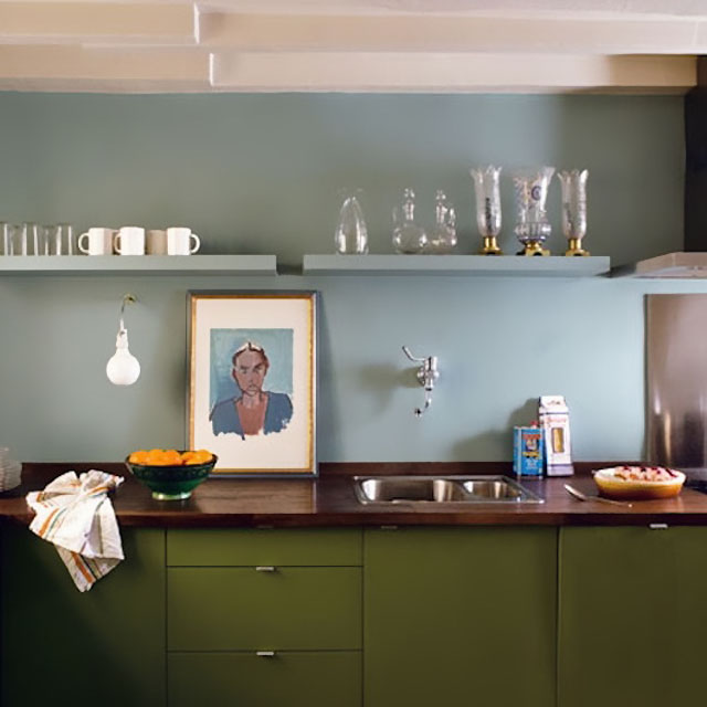 Sky Blue and Olive Green Kitchen by Philippe Harden in Paris