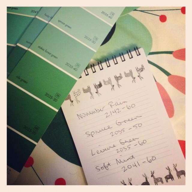 Paint Color Shopping List
