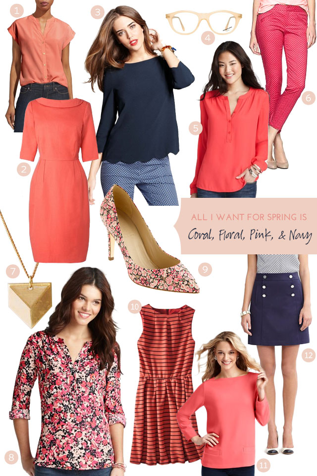 Coral, Floral, Pink, and Navy