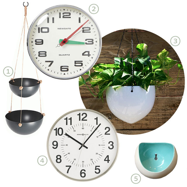 Kitchen Wall Clock and Hanging/Wall Planters