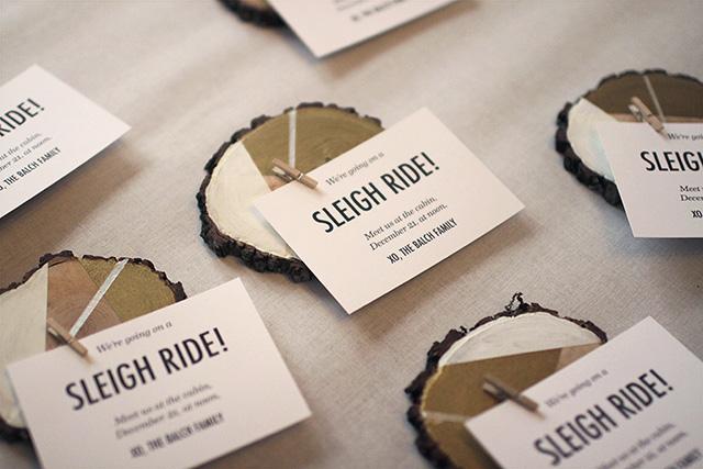 Finished Wood Slice Invitations
