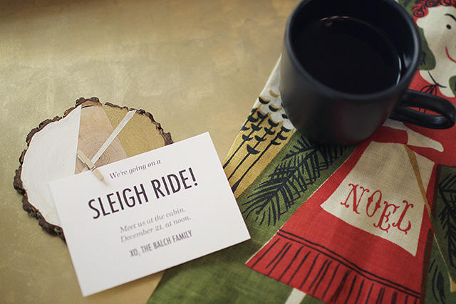 Wood Slice Invitations: We're Going on a Sleigh Ride!