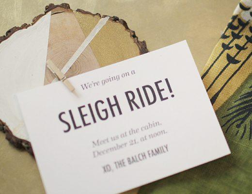 DIY Wood Slice Holiday Party Invitations