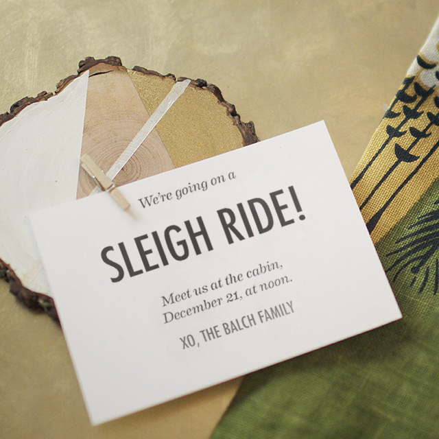 DIY Wood Slice Holiday Party Invitations