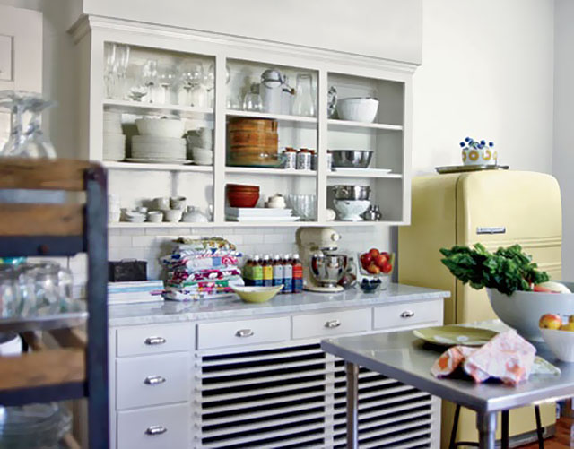 Amy Butler's Kitchen with Buttercup Yellow Fridge