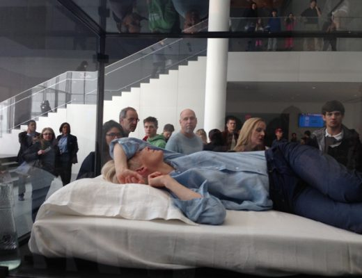 Tilda Swinton Sleeping at the MOMA