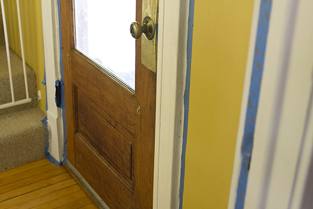 Wood doors with white trim making it lovely for Wood doors painted trim