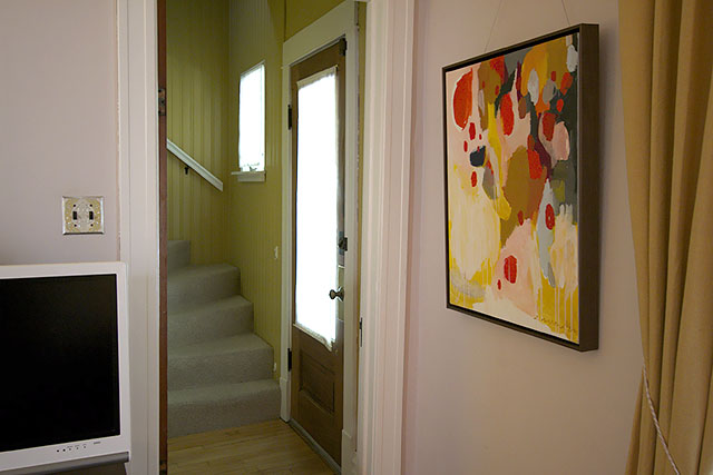 A makeover with formerly painted wood paneling making it for Wood doors painted trim