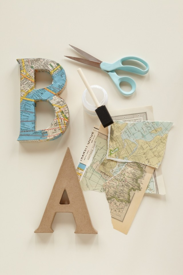 Decoupaged Kraft Letters