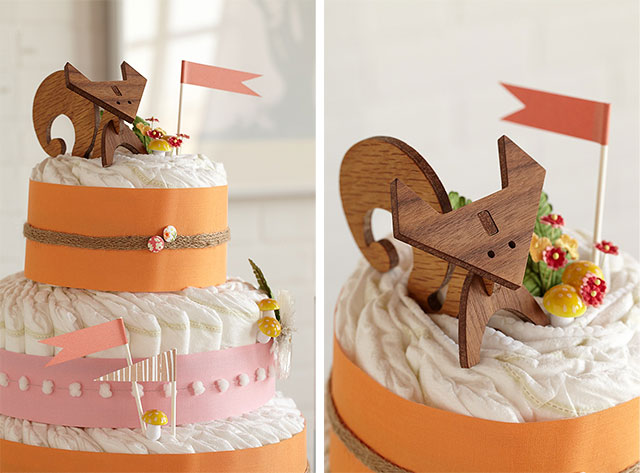 Foxy Baby Shower Diaper Cake